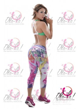 Conjunto deportivo Ref. 1021/ Leggins estampado/ Top unicolor